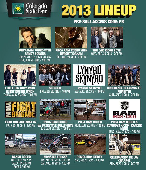 2013 Colorado State Fair Lineup